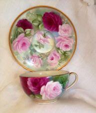 Mão Limoges pintado rosas chá copo e disco voador