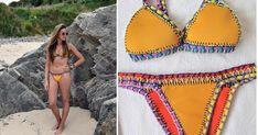 Si hay un bikini que está de moda este verano es el de neopreno y crochet. ¿Tú también quieres uno? Puedes hacértelo tú misma con este paso a paso. Swimsuits, Swimwear, Crochet Bikini, Patterns, Fitness, How To Wear, Clothes, Fashion, Hand Sewing Projects