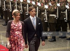 Prince Louis and Princess Tessy of Luxembourg arrive at the Notre Dame Cathedral as part of the Luxembourg National Day celebrations on June 23, 2007 in Luxembourg.