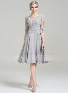 A-Line/Princess Scoop Neck Knee-Length Chiffon Mother of the Bride Dress With Ruffle Appliques Lace (008085301) - JenJenHouse