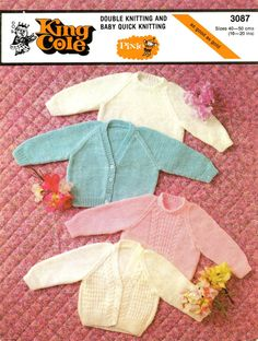 Vintage Baby's Cardigans and Sweaters, Knitting Pattern, 1960 (PDF) Pattern, King Cole 3087 on Etsy, Double Knitting, Baby Knitting, Sweater Knitting Patterns, Crochet Patterns, Photoshop Program, King Cole, Pattern Pictures, Baby Cardigan, Baby Sweaters