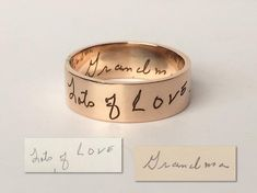 Custom Handwriting Ring - Personalized Name Ring - Baby Name Ring -Signature Ring - Bridesmaid Jewelry in Gold, Rose Gold, Silver Creative Mother's Day Gifts, Venus Jewelry, Country Rings, Name Rings, Love, Bridesmaid Jewelry, Diamond Wedding Rings, Eternity Bands, Anniversary Rings