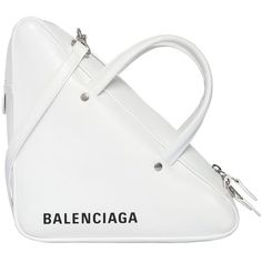 Balenciaga Women Small Triangle Leather Bag (7.625 RON) ❤ liked on Polyvore featuring bags, handbags, shoulder bags, balenciaga, white, leather hand bags, man bag, white shoulder handbags, leather purses and handbag purse