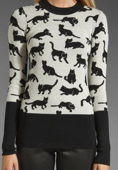 10 CROSBY DEREK LAM Kitty Print Pullover in Black/Soft White at Revolve Clothing - Free Shipping!