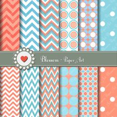 Printable Papers - Digital Backgrounds - Scrapbooking, cardmaking, invitations, wrapping paper - DIY
