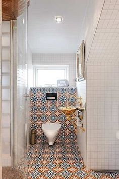Contemporary Moroccan Bathroom - Moroccan floor and wall tiles as the feature in an all white bathroom. Bathroom Inspo, Bathroom Interior, Bathroom Inspiration, Bathroom Ideas, Bathroom Remodeling, Remodeling Ideas, Moroccan Interiors, Moroccan Decor, Moroccan Style