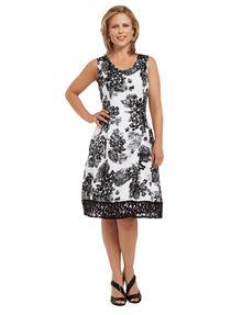 Kamiko Floral Print Dress, Black & White product photo