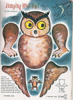 Vintage Jumping Hoot Owl for Halloween  ~ Picture Only