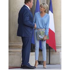 """Brigitte Macron's style  on Instagram: """"First Lady Brigitte wore her signature effortless chic blue outfit as she welcomed Arnold Schwarzenegger to the Elysée Palace to discuss…"""""""