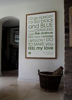 Words on Walls - These are the lyrics to mine & Chip's first dance at our wedding! Cool idea, however very pricey!