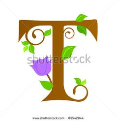 Plants font type, letter T - stock vector
