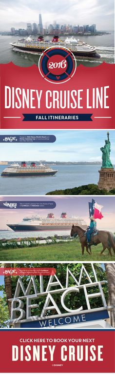 In Fall of 2016, Disney Cruise Line is making a much anticipated return to New York City and the great state of Texas! Click to learn more about these itineraries.