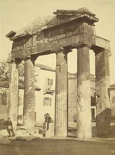 19th century photograph of the Gate of the Agora - Athens - with Doric order - A. D. White Architectural Photographs, Cornell University Library