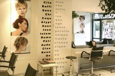 Salon de coiffure Basic, Echirolles. Décor vinyle. Design mural, Karine Montreuil, Atelier Kaali. http://design-mural.com/