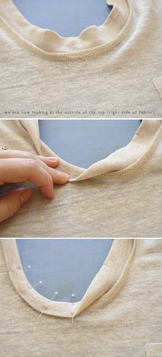 Awesome tutorial for finishing a knit neckline that will look good inside and out.