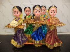 Dolls for invite Engagement Decorations, Stage Decorations, Indian Wedding Decorations, Trousseau Packing, Wedding Doll, Indian Dolls, Wedding Plates, Art N Craft, Basket Decoration