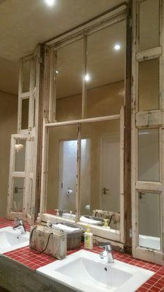 An old sash window as a bathroom mirror. Sash Windows, House Interiors, Mirrors, My House, Bathrooms, Furniture, Home Decor, Bathroom, Sliding Windows