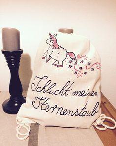 Turnbeutel Jutebeutel Unicorn Einhorn Glitzer von Berlin-Art auf DaWanda.com