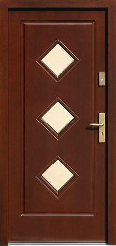 Drzwi zewnętrzne drewniane z szybą  model 683,1 w kolorze orzech ciemny