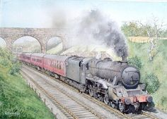 'black Five' Steam Locomotive by Andrew Shimmin Train Posters, Railway Posters, Diesel, Electric, Steam Railway, Train Service, Train Art, British Rail, Collor