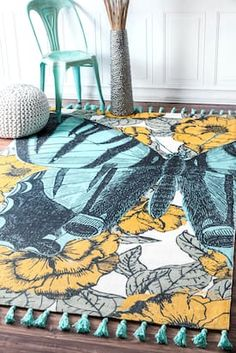 Rugs USA Green Thomas Paul Printed Blooming Butterfly Tassel rug - Animal Artistry Rectangle x Butterfly Bathroom, Usa Living, Iron Patio Furniture, Area Rugs For Sale, Area Rug Sizes, Yellow Area Rugs, Modern Area Rugs, Rugs Usa, Cool Rugs