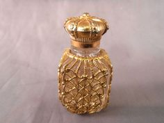 VINTAGE MINIATURE PERFUME BOTTLE GOLD FILIGREE SLEEVE OVER CLEAR GLASS ANTIQUE | Antiques, Decorative Arts, Glass | eBay!