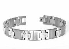 Tungsten Carbide Two-Tone with Highly Polished Finish and Magnetic Ison Designer Link for Men / Women