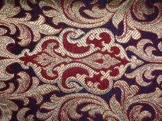 PURE SILK BROCADE FABRIC NAVY BLUE,MAROON WITH METALLIC GOLD