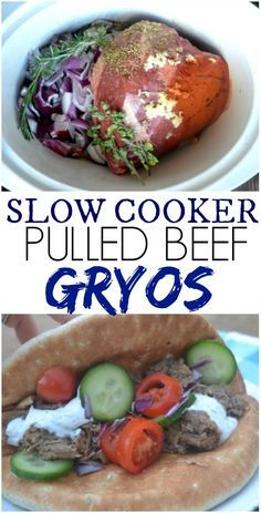 Slow Cooker Pulled Beef Gyros via Make the best of everything