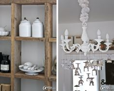 Dishes 'Dreams of Clay' exposed in the cabinet lockers, old brass chandelier decorated with small painted and mottled glass pendants how to