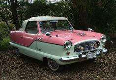 1958 Nash Metropolitan convertible. In pink!! One of my dream cars!
