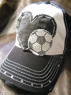 Soccer+mom+love+patchwork+distressed+ball+cap+by+BlingirlSpirit,+$26.95