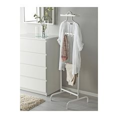 MULIG Valet stand IKEA 3 hooks for belts, ties, scarves or handbags and a removable tray on top for your watch, jewellery and other small things. tala wardrobe