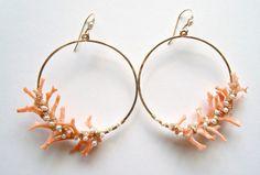 Coral Branch Earrings Peach Coral Hoops Pearl by BellaAnelaJewelry