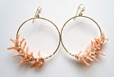 Hey, I found this really awesome Etsy listing at https://www.etsy.com/listing/168461003/coral-branch-earrings-peach-coral-hoops