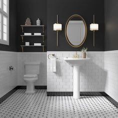 Black and white remains a timeless, elegant color scheme for a bathroom. The mix of white subway tiles on the wall with the black and white penny floor tiles are classic choices for bathrooms old and new.