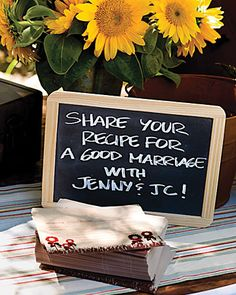 A chalkboard sign encourages guests to write a note to the couple on recipe cards. Have at your Bridal Shower, or as a fun thing to do at the Reception on the Gift Table or where the Guest Book is.