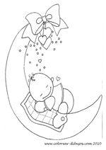 Dibujos para colorear de bebes; bebe durmiendo en la luna