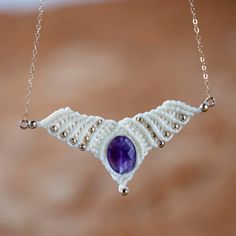 New to MacrameLoveJewelry on Etsy: Jaspar Angel wing necklace Angel Wing Pendant festival style  festival jewelry gypsy hippie jewelry tribal festival fashion boho (58.00 USD)