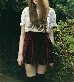 Dark Red Wine Velvet Vintage Retro Boho Hipster Punk Rock Chick Plain Solid Soft Mini Skirt High Waist XS-M (SKT-005)