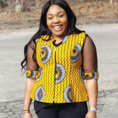L'image contient peut-être: 1 personne, debout at Diyanu Ankara Tops Blouses, African Blouses, African Tops, African Lace Dresses, African Fashion Dresses, African Print Fashion, Africa Fashion, African Attire, African Wear