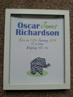 personalised hand made origami boys elephant art by Froggiedreams, £19.99