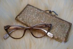 Vintage 1950s Tura Eyeglasses / Cat Eye Glasses / Rose Gold Eyewear / Vintage Eyeglasses Case by VintageHalfPint on Etsy
