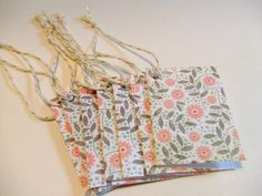 Pink Flower Garden Fold Over Gift Tags  Set of 8
