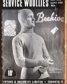 Vtg 40s Men Army Servicemen War Time WW II Sweater Sock Scarf Knitting Pattern