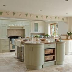 Cream and Sage Green Kitchen Cabinets, Shaker kitchen in sage . Home Decor Kitchen, Kitchen Interior, New Kitchen, Kitchen Ideas, Kitchen Paint, 1970s Kitchen, Decorating Kitchen, Narrow Kitchen, Awesome Kitchen