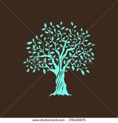 Beautiful green oak tree silhouette on brown background. Infographic modern vector sign. Premium quality illustration logo design concept.