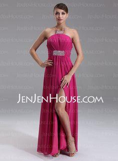Prom Dresses - $96.99 - Empire Halter Floor-Length Chiffon Prom Dresses With Ruffle Beading (018002469) http://jenjenhouse.com/Empire-Halter-Floor-Length-Chiffon-Prom-Dresses-With-Ruffle-Beading-018002469-g2469