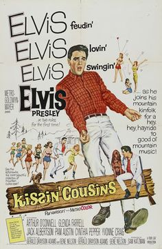 In Kissin' Cousins, Elvis sings nine songs while playing two roles in a Li'l Abner style film that became the model for the rest of his Hollywood career Old Movie Posters, Classic Movie Posters, Classic Movies, Vintage Posters, Yvonne Craig, Old Movies, Vintage Movies, Cousins Movie, Rock And Roll