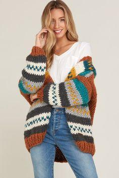 Sweater Jacket - tejidos a palillo Knit Jacket, Sweater Jacket, Knitting Blogs, Knitting Patterns, Crochet Cardigan, Knit Crochet, Striped Cardigan, Boho Outfits, Pulls